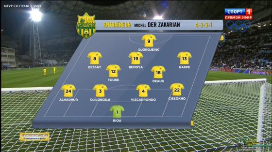 Côté nantais, Touré remplace Jordan Veretout par rapport à la victoire contre Valenciennes. Bessat débute à gauche pour un 4-2-3-1.
