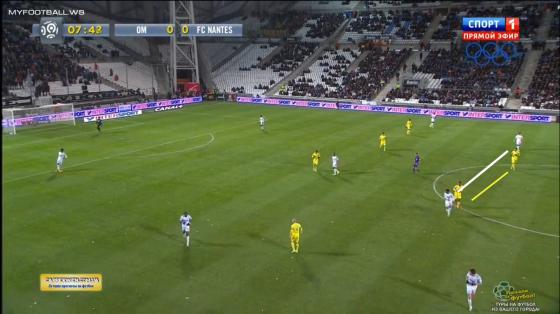 Les deux milieux nantais Touré et Deaux marquent Lemina et Cheyrou de près quand les défenseurs marseillais ont le ballon.
