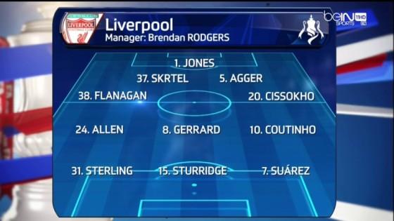 Equipe classique pour Liverpool. Gerrard une nouvelle fois positionné devant la défense, derrière Allen et Coutinho. Jones replace Mignolet dans les buts.