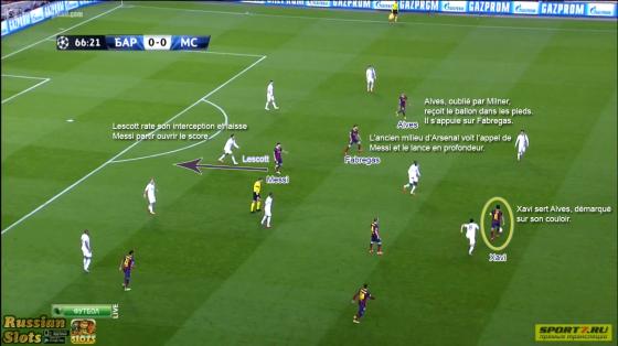 C'est grâce aux montées d'Alves que le Barça crée le surnombre. Les Sky Blues, statiques, encaissent le premier but.