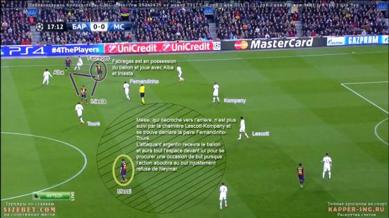 L'exemple d'une occasion partie d'un décrochage de Messi, qui se défait du marquage de Lescott/