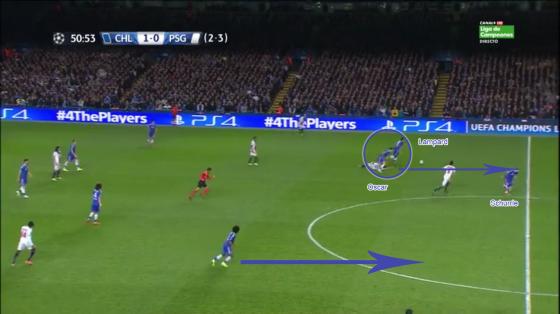 Chelsea redevient redoutable en contre-attaque. Ici, le ballon récupéré dans les pieds de Verratti qui provoque une occasion.