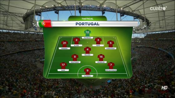La seule interrogation du onze portugais avant la rencontre reposait sur l'attaquant de pointe. Helder Postiga fait donc les frais de la titularisation d'Hugo Almeida, en forme après un doublé contre l'Irlande.